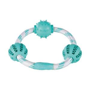 Trixie Denta Fun mentás labdák kötélgyűrűn 20cm