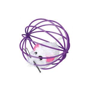 Trixie Plüss csörgő egér fémkeretes labdában 6cm